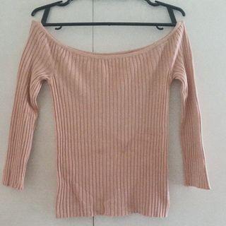 Pink knit offshoulder top
