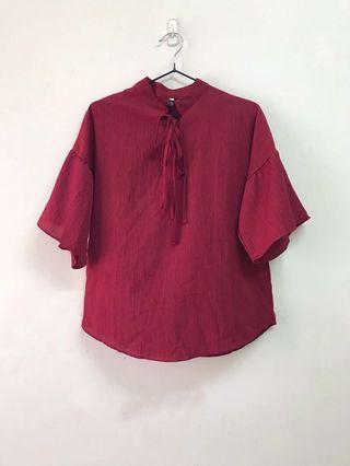 酒紅 雪紡衫 五分袖襯衫