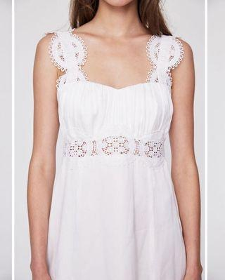Silk White Maxi Dress with Lace Detail