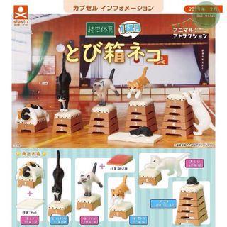 跳馬貓咪-1 跳箱貓 終日体育 三色貓 黑貓 白貓 動物 (全套5款) 扭蛋