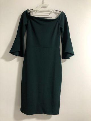 H&M Forest Green Off Shoulder Dress