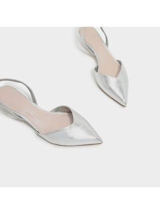 Charles and Keith Silver Sling Back Kitten Heels