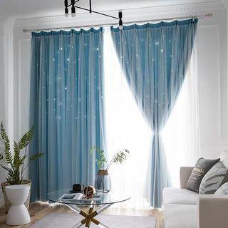 Blue Double Layer Curtains - 2 x 3m each