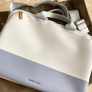 Charles and Keith Two Tone Laptop Sling Bag