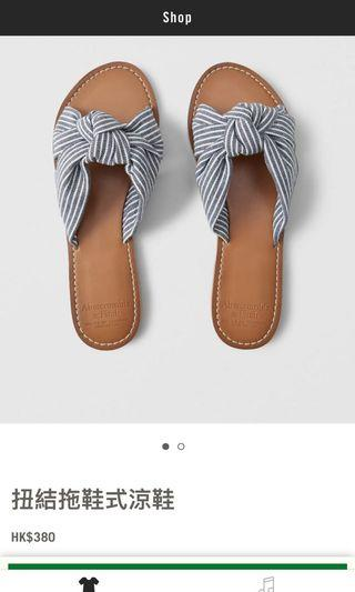 Abercrombie and Fitch 海軍藍扭結拖鞋式涼鞋 A&F (原價$380)