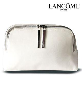 Lancome White Roomy Faux Leather Beauty Pouch-