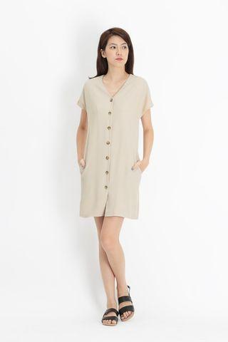 AFA Molly Button Sash Dress in Cream