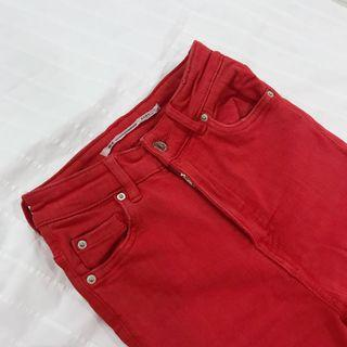ZARA Red Ripped Skinny Jeans