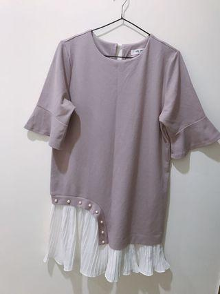 🚚 氣質洋裝#拼接洋裝#珍珠造型設計#喇叭袖洋裝#韓國製#附實穿照😊😊