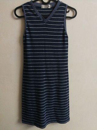 Blue & grey stripes bodycon dress