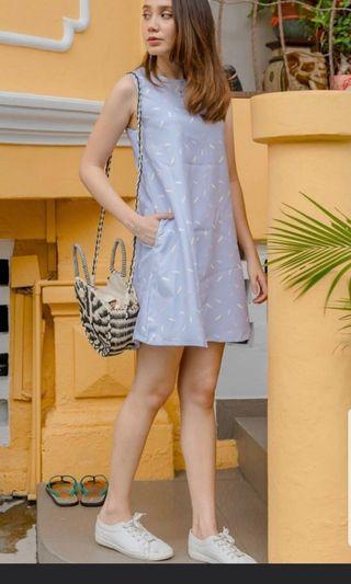 Lilac ACW brushstrokes trapeze dress with pockets