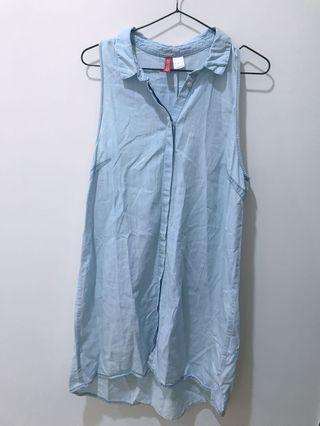 🚚 H&M丹寧洋裝#背心洋裝#牛仔洋裝#小清新#顏色近圖1⃣️#附實穿照😊😊