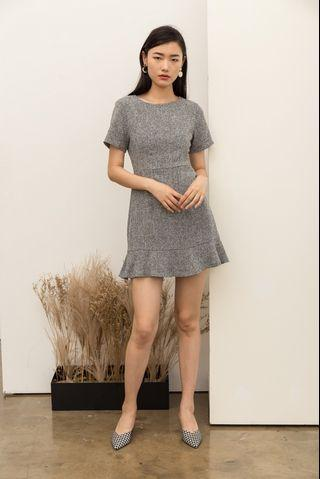 TSW Reeva Tweed Skater Dress in Grey