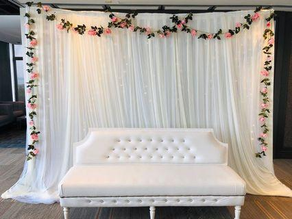 Wedding backdrop stand floral fairylights rental