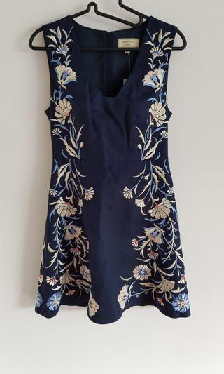Blue Embroidered Floral Dress