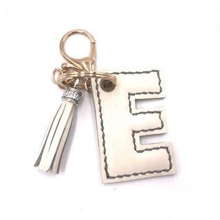 全手工 真皮 E字母流蘇鎖匙扣