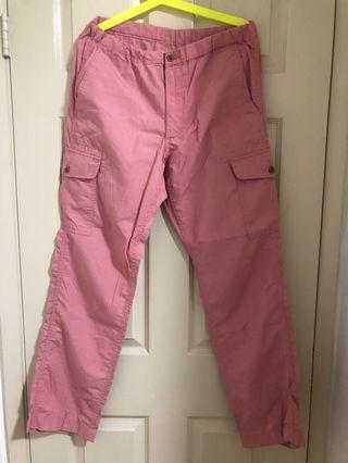 Unique 粉紅色休閒褲(薄)-購於日本