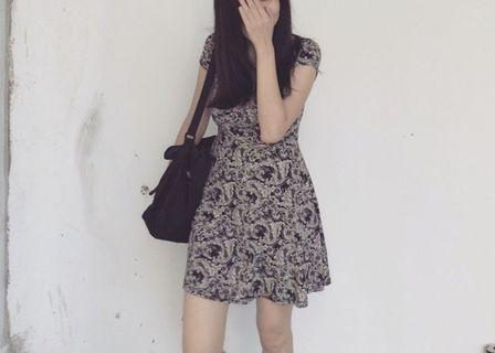Baby doll dress with prints