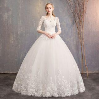 Plus Size Long Sleeve Wedding Gown for Rent