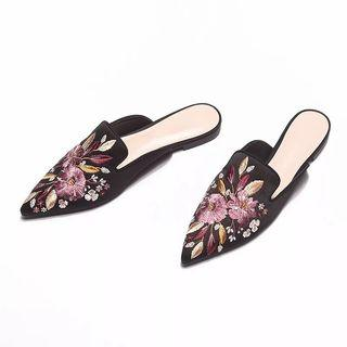 Black Embroidered Flower Floral Mules