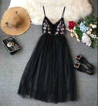 Little Black Embroidered Flower Floral Prom Dress with Chiffon Pom Pom