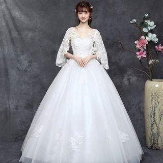 Plus Size Elegant White Wedding Gown for Rent