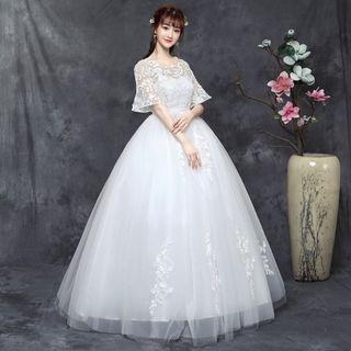 Plus Size Short Sleeve Wedding Gown for Rent