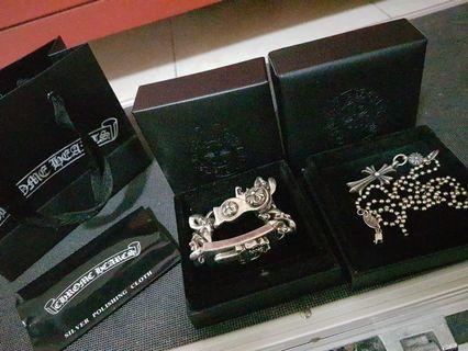 Chrome Hearts Dagger Bracelet and Cross Necklace