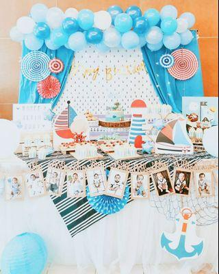 Nautical theme dessert table and styling