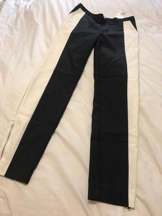 🚚 NWT H&M Black and White Colourblocked Fitted Pants sz 36