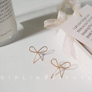 Gold Ribbon Korean Earrings