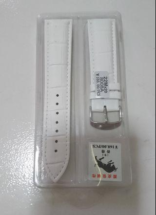 Leather Strap 22mm width in White Color (Genuine)