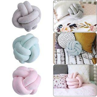Fashion Velvet Knotted Cushion Ball Chunky Pillow