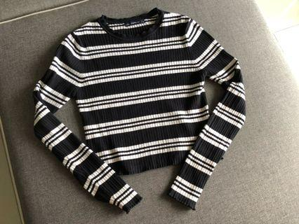 Zara strip knit top