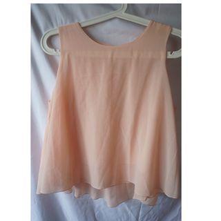 橘粉色雪紡背心light pink chiffon top