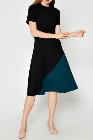Love & Bravery Oriana Colourblock Swing Dress Black