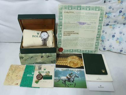 Rolex Oyster Datejust White Gold 16234 (1990) (Full box Certificate & Receipt)(Collector's Item)