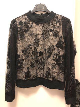 Mihoko Saito black lace top