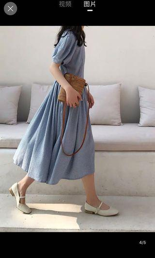 [全新]復古泡泡袖淺藍格子大裙擺連身裙 洋裝 *阿綢家