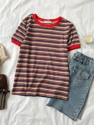stripes ribbed top