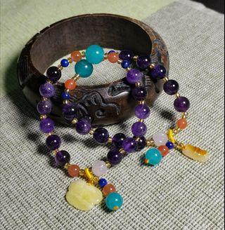 天然紫水晶民族手鏈