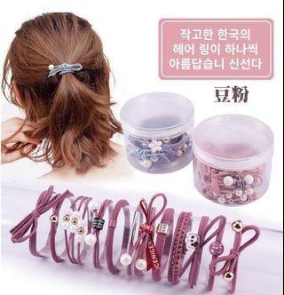 🚚 韓國製 氣質彈力時尚髮圈 一盒12條 兩盒280