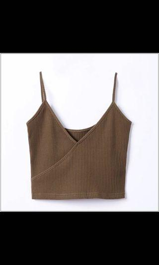 dark brown overlap camisole