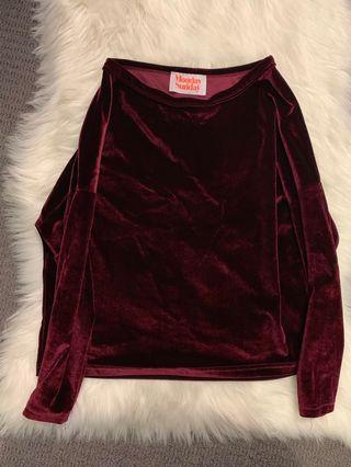 Velvet loose fit crop top