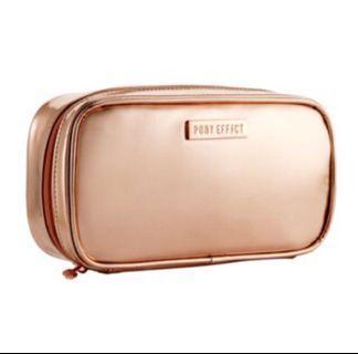 韓國PONY EFFECT 玫瑰金 化妝包 有夾層 可放刷具