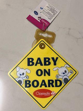 "BRAND NEW ""Baby on Board"" Rear Windshield Sign"