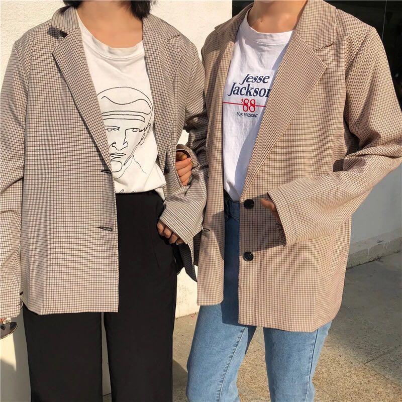 西服女秋装2018新款韩版chic复古宽松休闲上衣薄款格子小西装外套