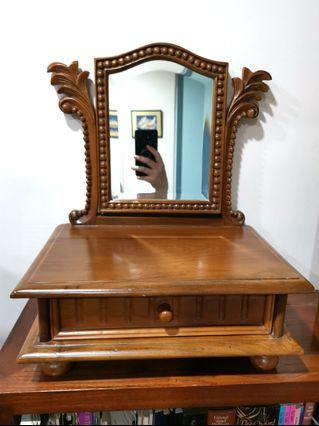 Wooden Drawer with Mirror