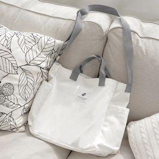 Instock Canvas Tote Bag With Side Pockets Fits Books Laptop Water Bottle Umbrella