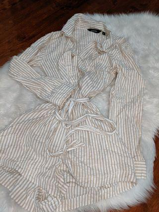 Glassons Striped Textured Long Sleeve Playsuit